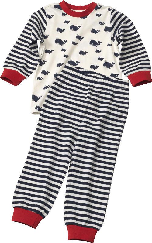 ALANA Kinder Schlafanzug, Gr. 104, in Bio-Baumwolle, weiß, blau