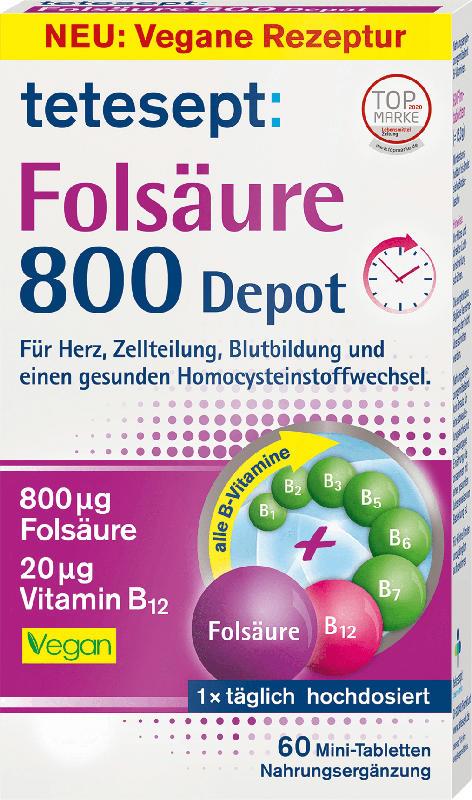 tetesept Folsäure 800 Depot Mini Tabletten 60 St.