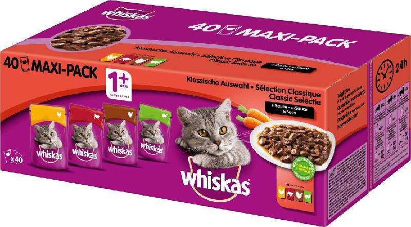 Whiskas Nassfutter für Katzen, Klassische Auswahl in Sauce, Multipack (40x100g)