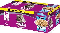 Whiskas Nassfutter für Katzen, 1+ Ragout Fischauswahl in Gelee, Multipack (40x85g)