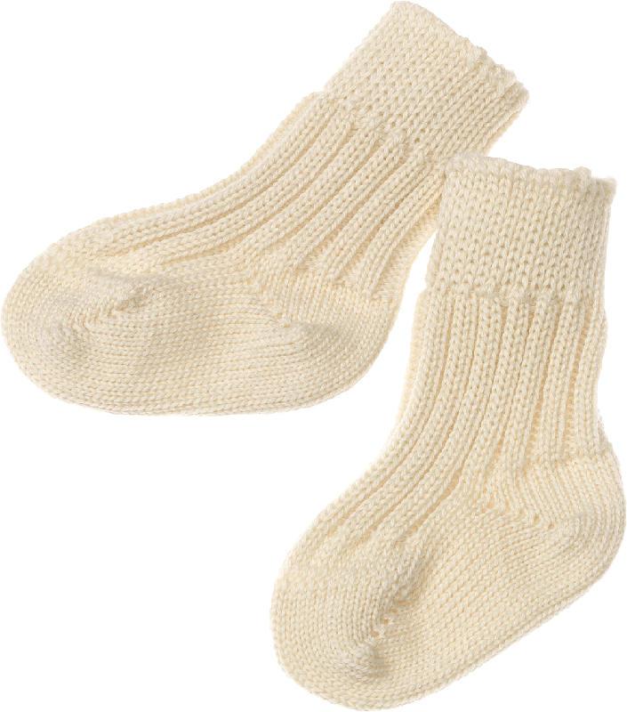 ALANA Baby Socken, Gr. 19/22, in Bio-Schurwolle und Bio-Baumwolle, natur, für Mädchen und Jungen