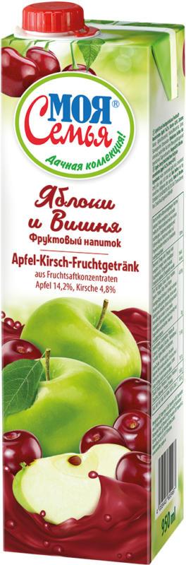 Apfel-Kirsch-Fruchtgetränk aus Fruchtsaftkonzentraten. Apfel 14,2%, Kirsche 4,8%