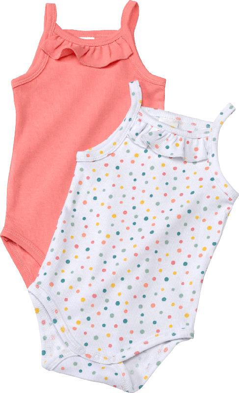 PUSBLU Doppelpack Bodys, Gr. 62/68, in Bio-Baumwolle, pink, weiß