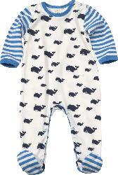 ALANA Baby Schlafanzug, Gr. 62/68, in Bio-Baumwolle, weiß, blau