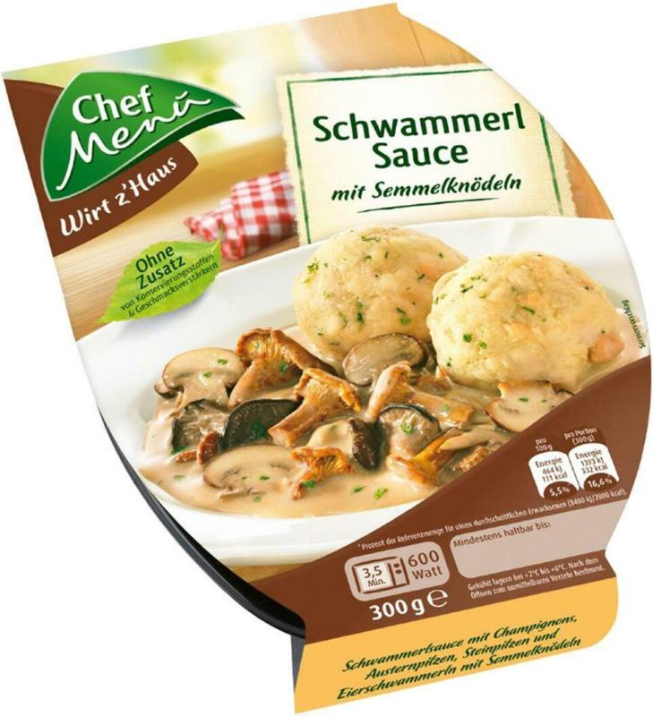 Chef Menü Schwammerlsauce mit Semmelknödel