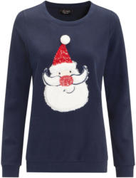 Damen Sweatshirt mit Weihnachtsmann-Motiv (Nur online)