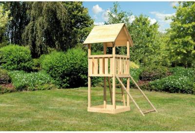 Akubi Spielturm Lotti Naturbelassen mit Sandkiste & Netzrampe