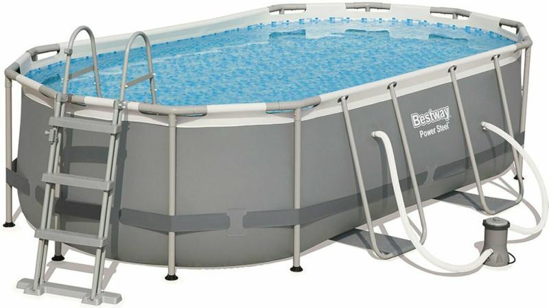 Bestway Stahlrahmen-Pool Power Steel 427 cm x 250 cm x 100 cm Oval