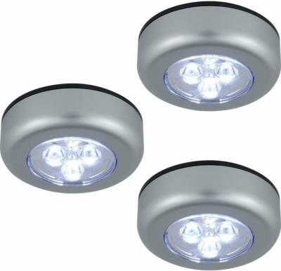 LED-Push-Leuchte Carano 3er-Set silberfarben