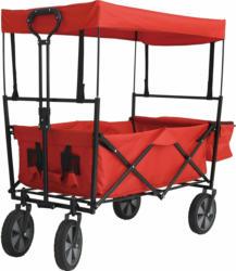 Faltbarer Bollerwagen mit Dach Rot