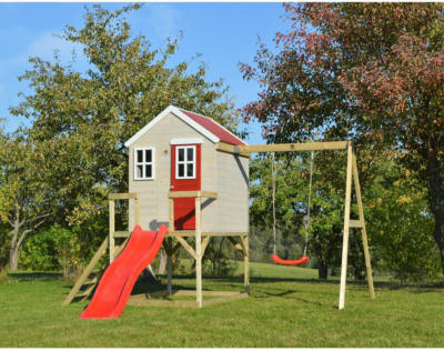 Wendi Toys Kinderspielhaus Elefant Spielturm inkl. Veranda & Rutsche 242 cm x 35