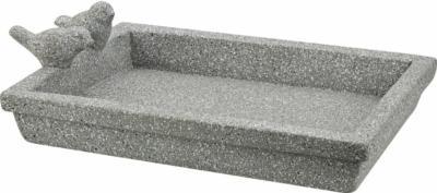 Eckige Vogeltränke aus Zement 32 cm x 22 cm x 8 cm Hellgrau