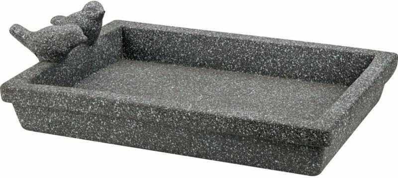 Eckige Vogeltränke aus Zement 32 cm x 22 cm x 8 cm Dunkelgrau