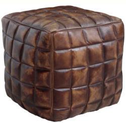 Sitzwürfel in Braun Leder Braun