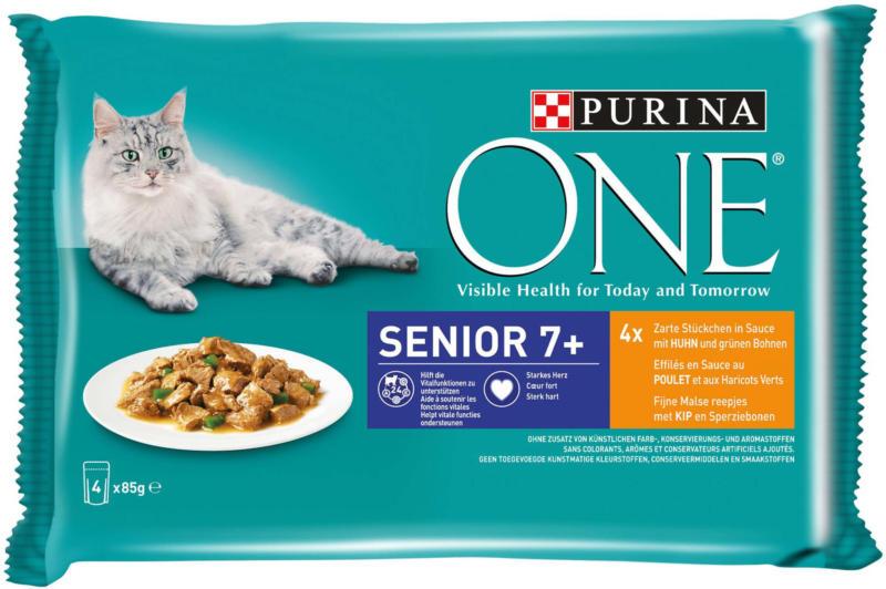 Purina ONE Senior +7 mit Huhn & grünen Bohnen 4x85g