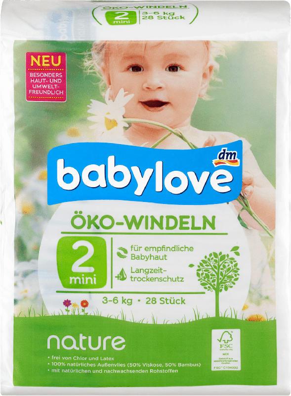 babylove Öko-Windeln nature Größe 2, Mini, 3-6kg