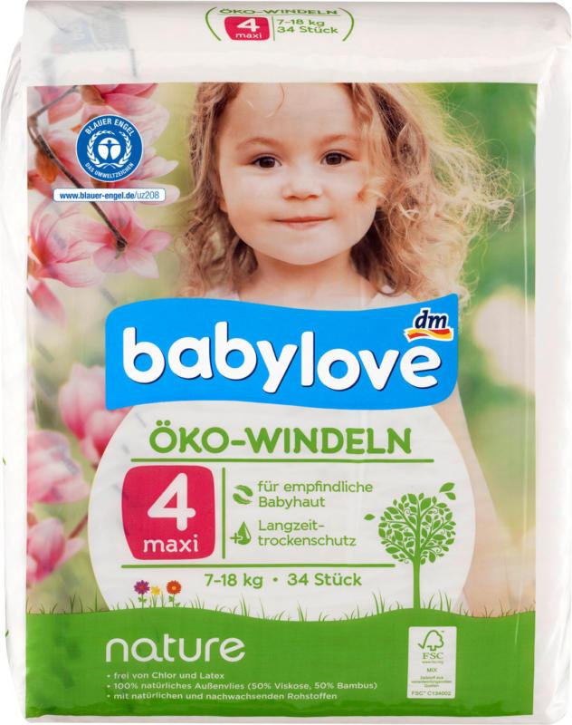 babylove Öko-Windeln nature Größe 4, Maxi, 7-18kg