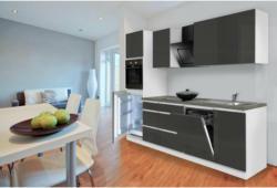 Grifflose Küchenzeile 280 cm Hochbau Grau 280 cm