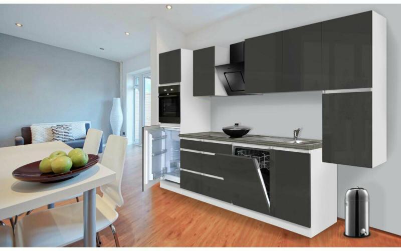 Grifflose Küchenzeile 330 cm Hochbau Grau 330 cm