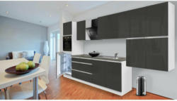 Grifflose Küchenzeile 370 cm Hochbau Grau 370 cm
