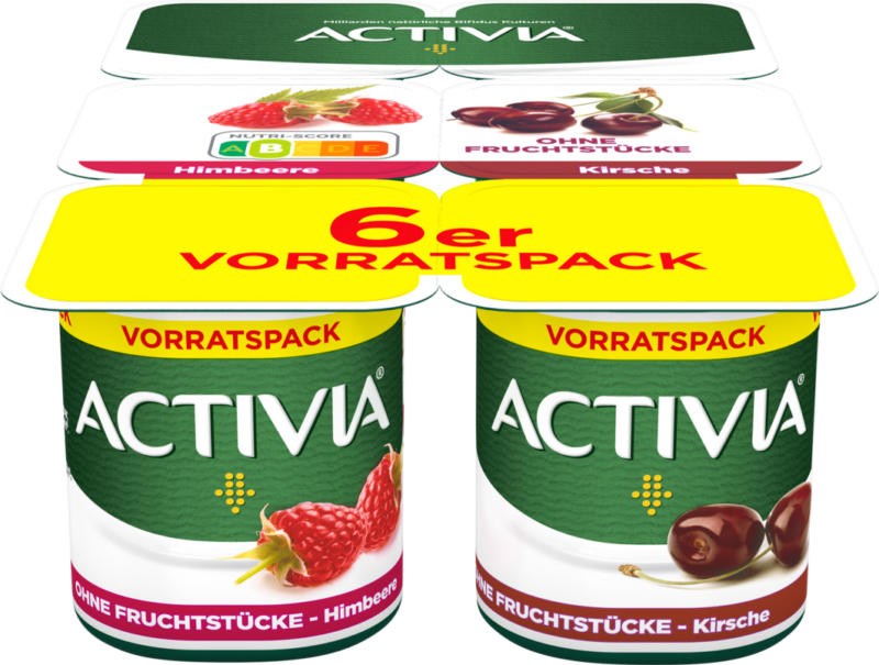Yogurt con purea di frutta Activia Danone, assortiti: Lampone, Ciliegia, probiotico, 6 x 120 g