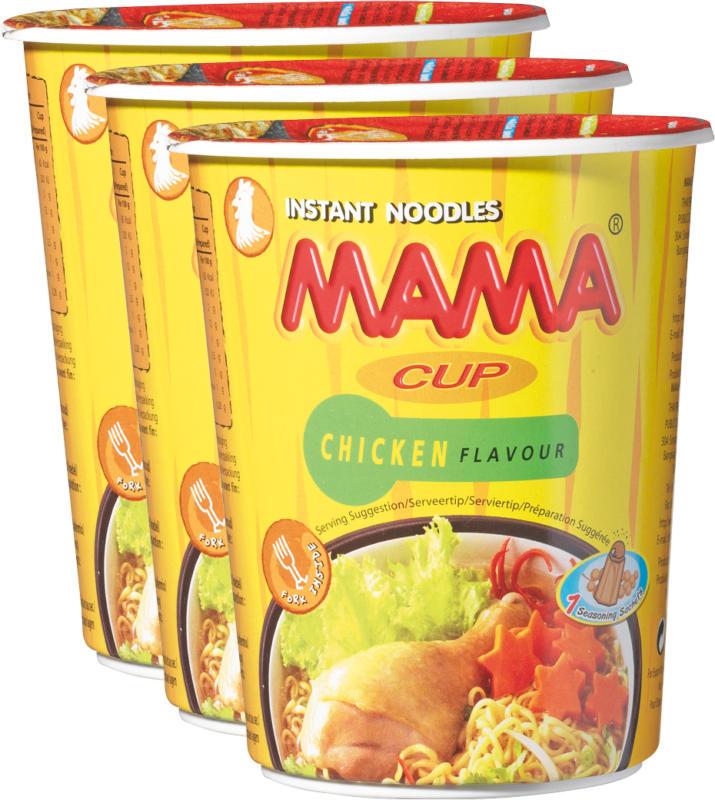 Mama Cup Instant Noodles, Arôme de poulet, 3 x 70 g