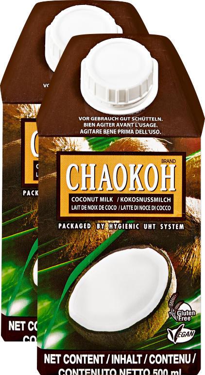 Lait de noix de coco Chaokoh, 2 x 500 ml