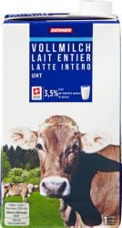 Lait entier Denner, UHT, 3,5% de matière grasse, 12 x 1 litre