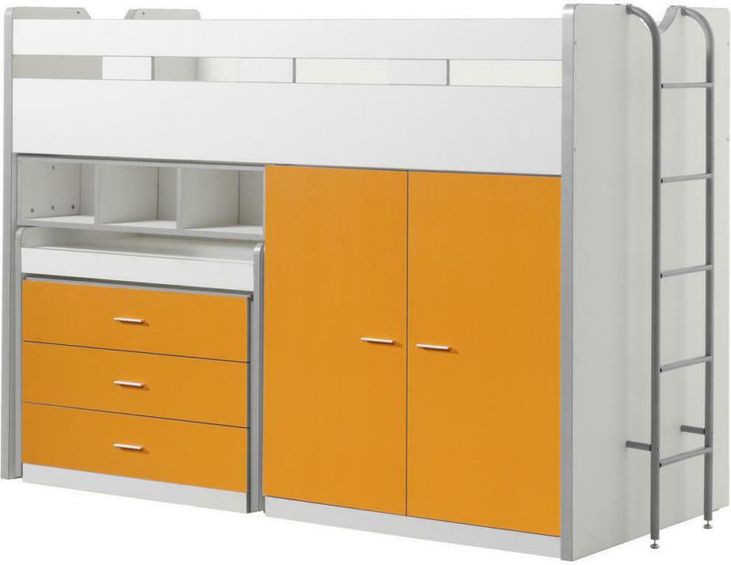 Hochbett 90/200 cm in Orange, Weiß