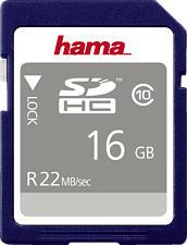 HAMA 104367 22MB/S CL10 - SDHC-Speicherkarte  (16 GB, 22 MB/s, Schwarz)