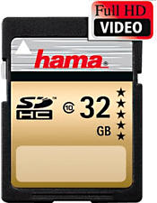 HAMA SDHC 22MB/S CL10 - SDHC-Speicherkarte  (32 GB, 22 MB/s, Schwarz/Gold)