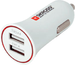 SKROSS Midget Dual USB Car Charger - Caricabatterie per autoveicoli (Bianco)