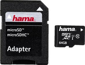 HAMA 108077 HEABSE UHS-I CL10 - Micro-SDHC-Cartes mémoire  (64 GB, 22, Noir)