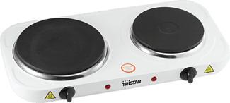 TRISTAR KP-6245 Doppelkochplatte - Versiegelte Platte (Weiss)