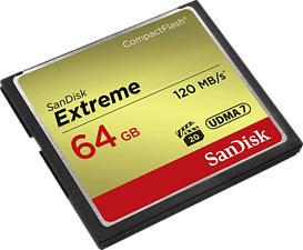 SANDISK Extreme UDMA 7 - Compact Flash-Cartes mémoire  (64 GB, 120, Gris/Or)