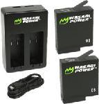 MediaMarkt WASABI POWER Caricabatterie doppio caricabatterie con batterie di ricambio GoPro Hero 5/6/7  - batteria ricaricabile (Nero)