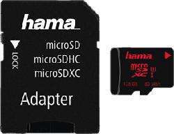 HAMA 181002 UHS-I 80MB/s +AD - Micro-SDXC-Cartes mémoire  (128 GB, 80, Noir)