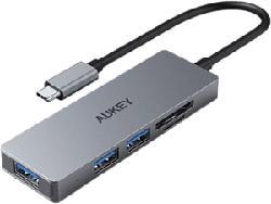 AUKEY CB-C63 - USB Typ-C Hub et lecteur de cartes (Gris)