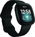 MediaMarkt FITBIT Versa 3 - Gesundheits- & Fitness-Smartwatch (Silikon, Schwarz)