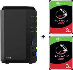 SYNOLOGY DiskStation DS220+ mit 2x 3TB Seagate IronWolf NAS (HDD) - NAS (HDD, 6 TB, Schwarz)