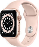 MediaMarkt APPLE Watch Series 6 (GPS) 40 mm - Montre intelligente (130 - 200 mm, Fluoroélastomère, Or/Rose des sables)