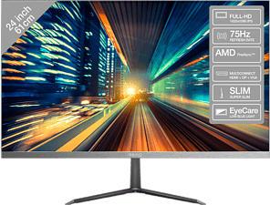 """PEAQ PMO S241-IFC - Monitor (24 """", Full-HD, 75 Hz, Gun-Metal/Schwarz)"""