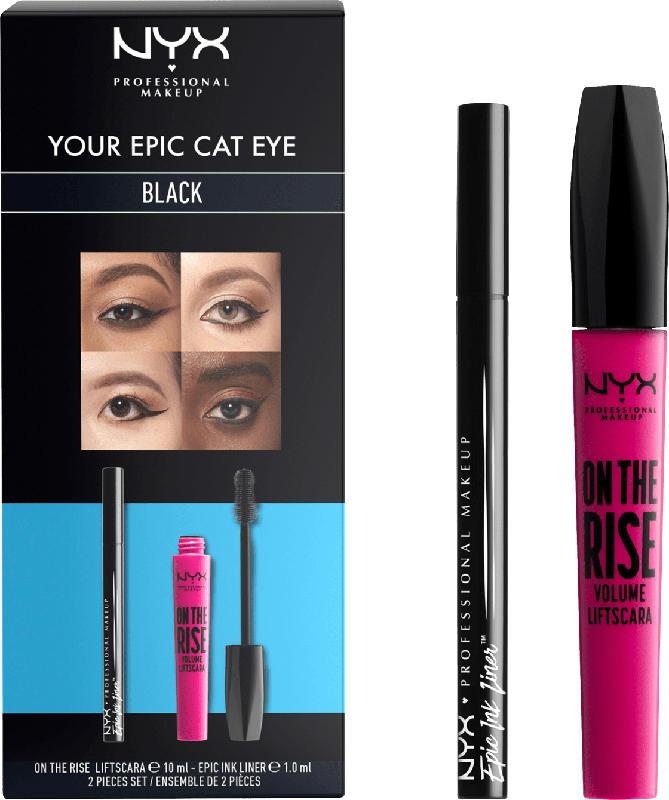 NYX PROFESSIONAL MAKEUP Set Wimperntusche on the Rise  Liftscara Black + Eyeliner Epic Ink black (10ml+1ml)