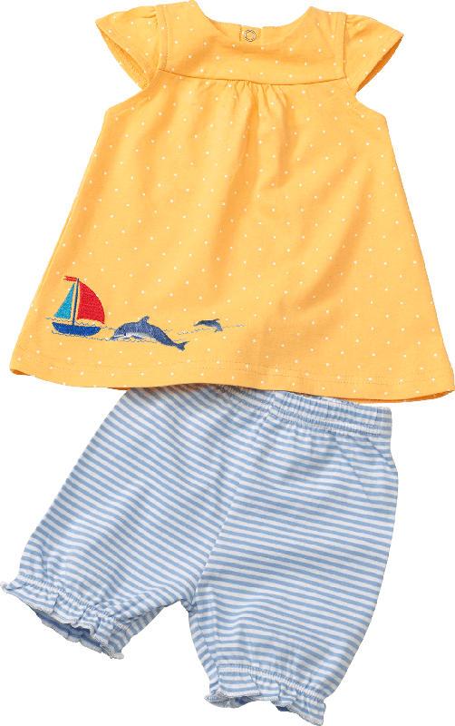 PUSBLU Set aus Baby Shirt und Shorts, Gr. 56, in Baumwolle, gelb, blau