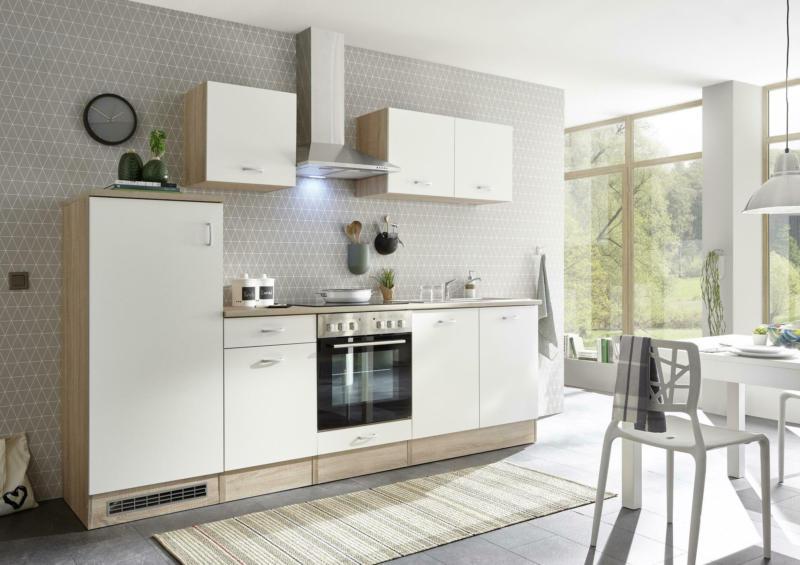 Küchenblock in Weiß /Eiche ´Andy Inkl E-Geräte+Spüle´