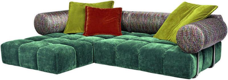 Wohnlandschaft in Textil Grün, Multicolor