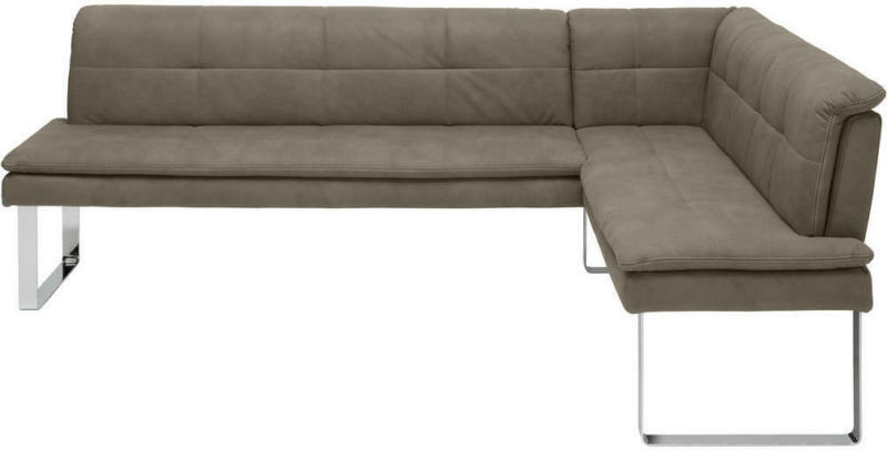 Eckbank 213/174 cm in Grau, Chromfarben