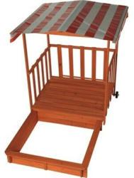 Spielhaus Holz mit Sandkasten