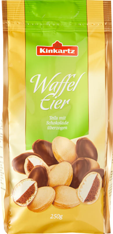 Ovetti di wafer Kinkartz cioccolato fondente parzialmente ricoperti di cioccolato , 250 g