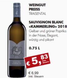 "2018 Sauvignon Blanc ""Kammerling"""